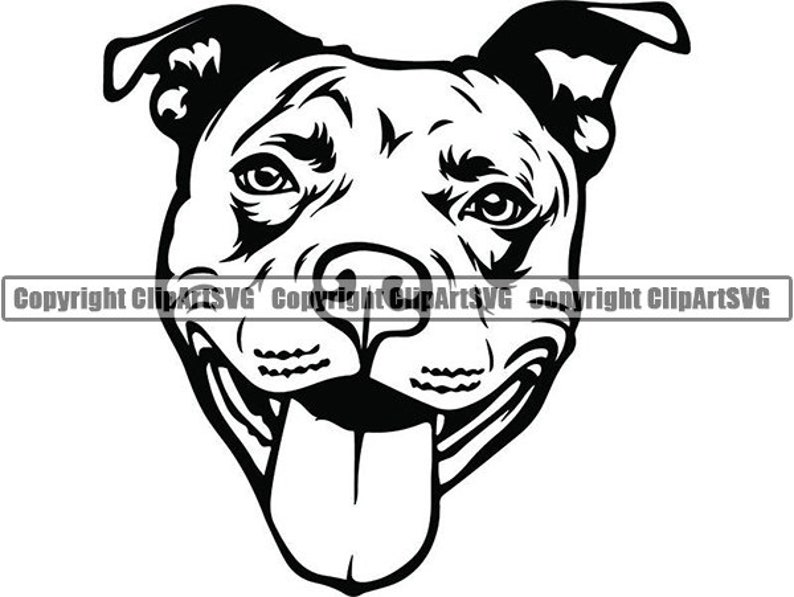 American Pit Bull #38 Happy Smiling Dog Paw Puppy Pet Terrier Breed Canine Purebred Pedigree Logo.SVG .PNG Clipart Vector Cricut Cut Cutting photo