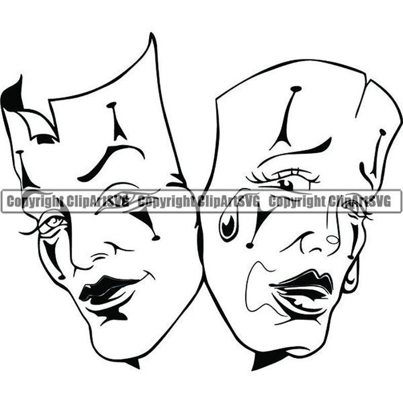 Happy Sad Masks 4 Laugh Now Cry Later Clown Female Woman Face Gangster Biker Thug Tattoo Theatersvg Png Clipart Vector Cricut Cut Cutting