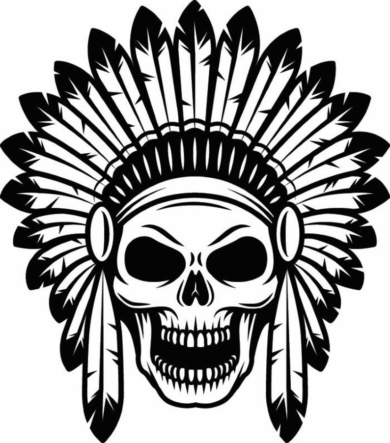 Indian Skull 1 Native American Warrior Headdress Feather
