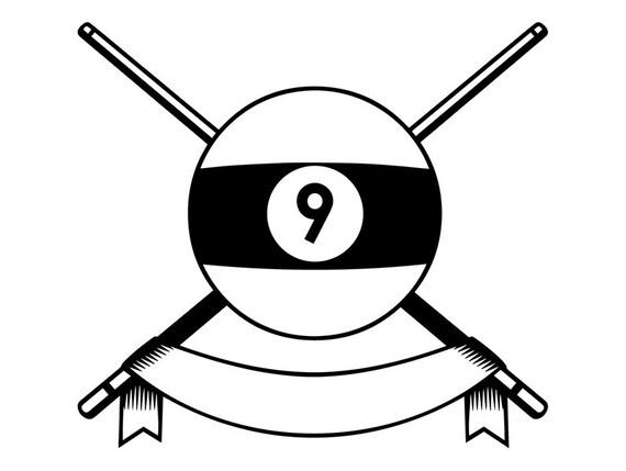 Billiards Pool Logo 70 Que Stick Eight 8 Nine 9 Ball Snooker