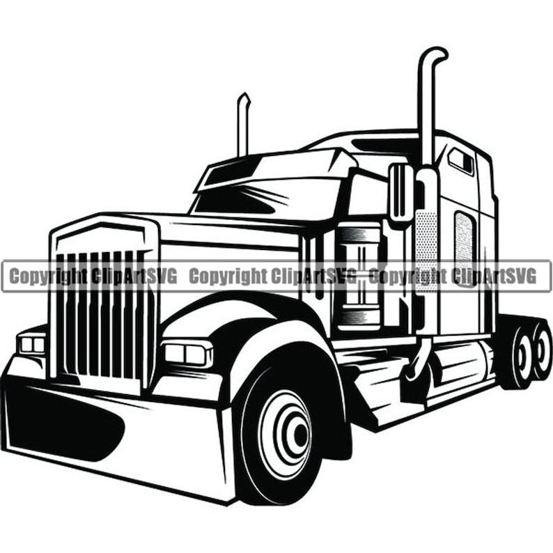 Truck Driver #32 Trucker Big Rigg 18 Wheeler Semi Tractor Trailer Cab Shipping Moving Company Trucking Logo .SVG Vector Cricut Cut Cutting photo