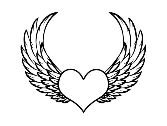 Heart Wings 3 Love Symbol Angel Tattoo Tat Valentines Art Etsy