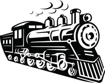 Steam Engine #10 Train Locomotive Vintage Railroad Railway Track Coal Transportation Logo .SVG .EPS .PNG Clipart Vector Cricut Cut Cutting