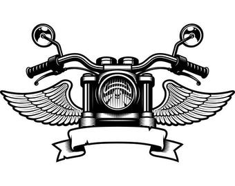 Motorcycle Logo #5 Handle Bars Wings Bike Biker Chopper Mechanic Service Shop Banner .SVG .EPS .PNG Clipart Vector Cricut Cut Cutting File