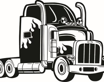 Truck Driver #10 Flames Trucker Big Rigg 18 Wheeler Semi Tractor Trailer Cab Flat Bed Company Trucking Logo.SVG .EPS .PNG Vector Cut Cutting