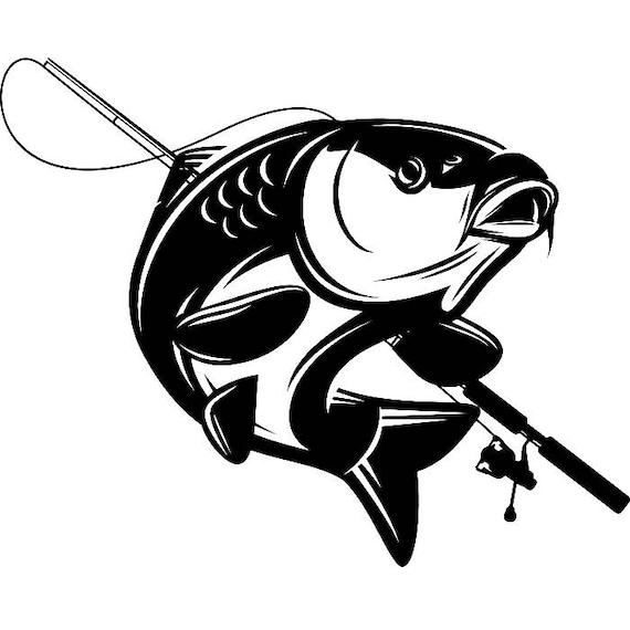 carp fishing 4 logo angling fish hook fresh water hunting etsy rh etsy com carp logo football carp logo football