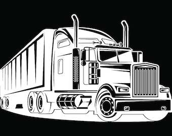 Truck Driver #30 Trucker Big Rigg 18 Wheeler Semi Tractor Trailer Cab Flat Bed Company Trucking Logo.SVG .EPS .PNG Vector Cricut Cut Cutting