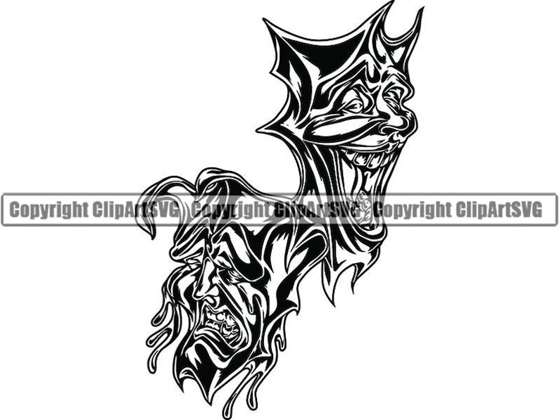 Happy Sad Masks 2 Laugh Now Cry Later Clown Face Gangster Biker Thug Tattoo Illustration Theatersvg Png Clipart Vector Cricut Cut Cutting