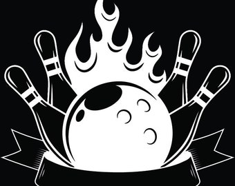 Bowling Logo #39 Ball Pin Sports Bowl Game Bowler Alley Strike Tournament Competition League Logo .SVG .EPS .PNG Clipart Vector Cricut Cut