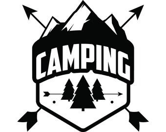 Camping Logo #15 Motorhome Camper Recreational Vehicle RV Camp Campsite Trailer Mountain Vacation Banner .SVG .EPS Vector Cricut Cut Cutting