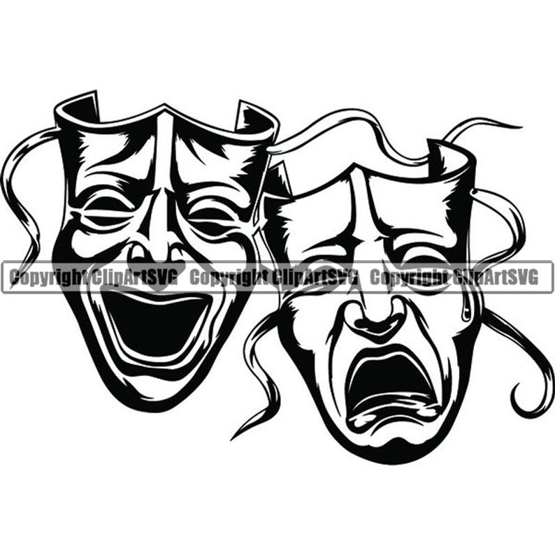 Happy Sad Masks 1 Laugh Now Cry Later Clown Face Gangster Biker Thug Tattoo Illustration Theatersvg Png Clipart Vector Cricut Cut Cutting