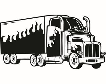 Truck Driver #7 Trucker Big Rigg 18 Wheeler Semi Tractor Trailer Cab Flat Bed Company Trucking Logo .SVG .EPS .PNG Vector Cricut Cut Cutting