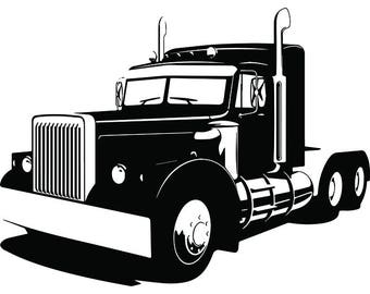 Truck Driver #19 Trucker Big Rigg 18 Wheeler Semi Tractor Trailer Cab Flat Bed Company Trucking Logo.SVG .EPS .PNG Vector Cricut Cut Cutting