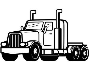 Truck Driver #12 Trucker Big Rigg 18 Wheeler Semi Tractor Trailer Cab Flat Bed Company Trucking Logo.SVG .EPS .PNG Vector Cricut Cut Cutting