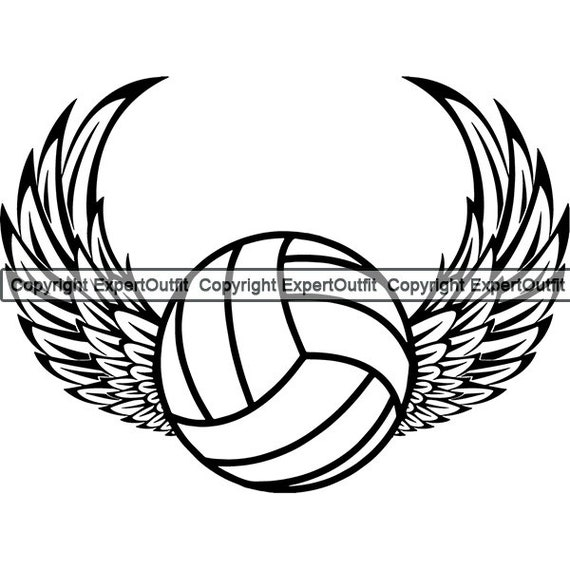 Volleyball Ball Logo Sports Game Angel Wings Flying Etsy