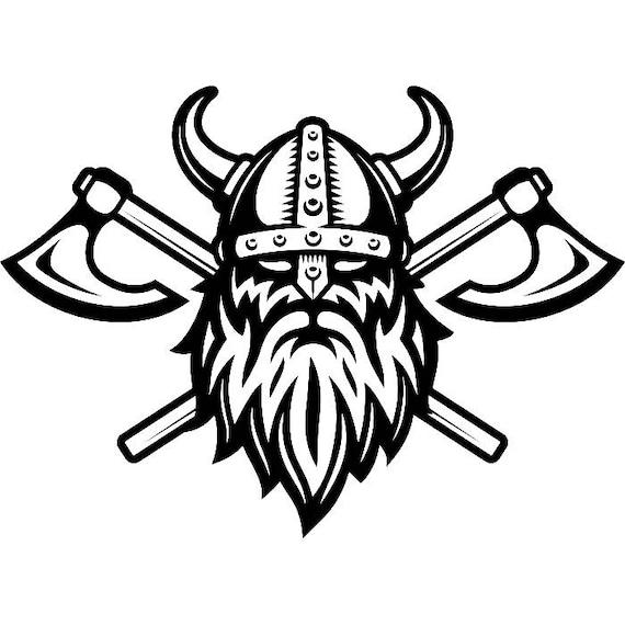 viking logo 5 skull helmet horns axes ship warrior