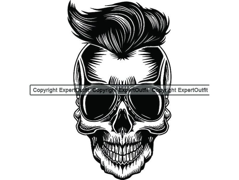 Skull Sunglasses Hair Grim Reaper Death Evil Kill Killer Grim Horror Ghost  Tattoo Skeleton Logo  SVG  PNG Clipart Vector Cricut Cut Cutting