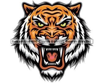 Tiger Mascot School Team Head Face Sport eSport Game Emblem Sign Club Badge Art Icon Label Text Design Logo SVG PNG Vector Clipart Cut File