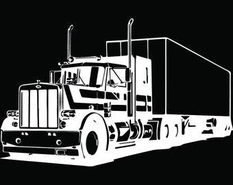 Truck Driver #33 Trucker Big Rigg 18 Wheeler Semi Tractor Trailer Cab Flat Bed Company Trucking Logo.SVG .EPS .PNG Vector Cricut Cut Cutting