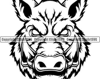 Boar Wild Hog Pig Razorback Head Animal Angry Cartoon College High School Team Sport Mascot Design Logo .SVG .PNG Clipart Vector Cut Cutting