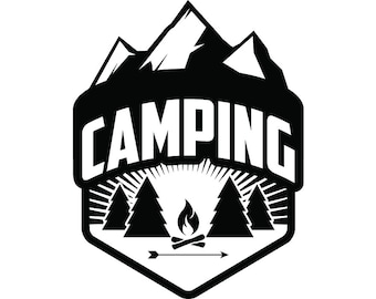 Camping Logo #12 Motorhome Camper Recreational Vehicle RV Camp Campsite Trailer Mountain Vacation Banner .SVG .EPS Vector Cricut Cut Cutting