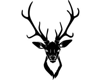 Deer #8 Buck Antlers Points Whitetail Fawn Hunting Fishing Wilderness Nature Logo .SVG .EPS .PNG Digital Clipart Vector Cricut Cut Cutting