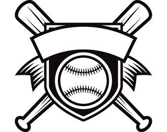 Baseball Logo #1 Banner Bats Crossed Ball Diamond Sports League Equipment Team Game Field Logo .SVG .EPS .PNG Vector Cricut Cut Cutting