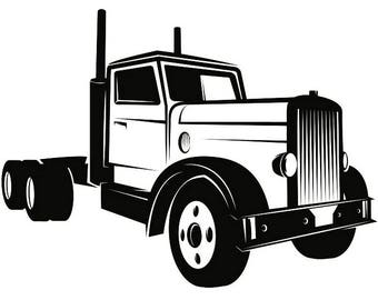 Truck Driver #13 Trucker Big Rigg 18 Wheeler Semi Tractor Trailer Cab Flat Bed Company Trucking Logo.SVG .EPS .PNG Vector Cricut Cut Cutting