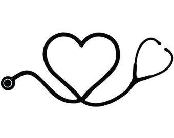 Nurse Logo #2 Registered Nursing Scrub Medical Doctor Heart Stethoscope Health Hospital Healthcare .SVG .EPS .PNG Cricut Cut Cutting File