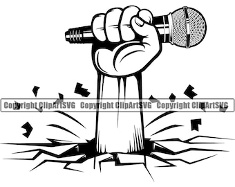 Microphone Logo #14 Hand Holding Mic Singer Audio Sound Recording Record Music Studio Equipment Radio .SVG .PNG Vector Cricut Cut Cutting
