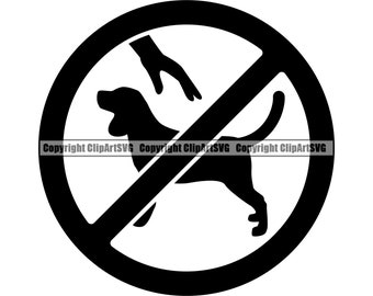 Do Not Pet Dog Sign Symbol Icon Love Smiling Dog K-9 Animal Touch Pup Puppy Beware Caution Logo .SVG .PNG Clipart Vector Cricut Cut Cutting