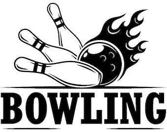 Bowling Logo #11 Ball Pin Sports Bowl Game Bowler Alley Strike Tournament Competition League Logo .SVG .EPS .PNG Clipart Vector Cricut Cut
