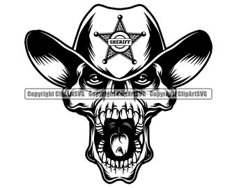 Cowboy Skull Sheriff Outlaw Country Gun Scarf Boot Western Rodeo Ranch Old Wild West Bandit Design Art Logo SVG PNG Vector Clipart Cut File