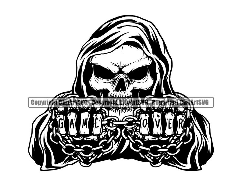 Grim Reaper Skull Skeleton Grin Grinning Game Over Chain Death image 0