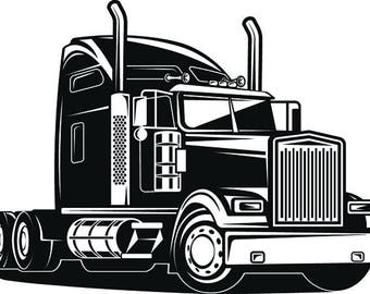 Truck Driver #1 Trucker Big Rigg 18 Wheeler Semi Tractor Trailer Cab Flat Bed Company Trucking Logo .SVG .EPS .PNG Vector Cricut Cut Cutting