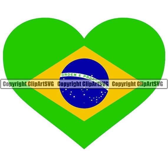 Brazil Heart Shaped Flag Brazilian South America Country World National  Nation Love Symbol Logo Art .JPG .PNG Clip Art Design Graphic File