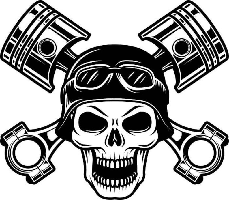 Motorcycle Logo 12 Skull Pistons Helmet Goggles Bike Biker