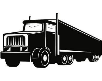 Truck Driver #11 Trucker Big Rigg 18 Wheeler Semi Tractor Trailer Cab Flat Bed Company Trucking Logo.SVG .EPS .PNG Vector Cricut Cut Cutting
