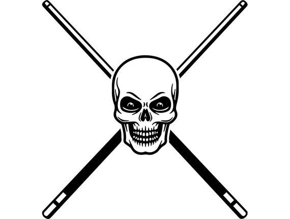 Billiards Pool Logo 39 Skull Que Stick Eight 8 Nine 9 Ball