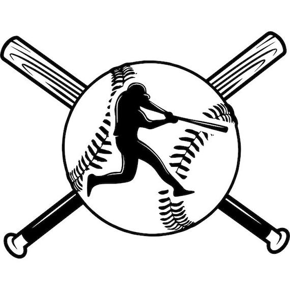 baseball logo 23 player tournament ball bat league equipment etsy rh etsy com Baseball Clip Art Baseball Coloring Template