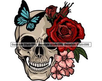 Skull Roses Flowers Butterfly Grin Death Love Dead Head Evil Kill Killer Tattoo Female Woman Design Art Logo SVG PNG Clipart Vector Cut File