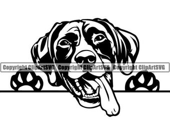 German Shorthaired Pointer #4 Peeking Dog Breed K-9 Pet Animal Hunting Canine Hound Pedigree Logo.SVG .PNG Clipart Vector Cricut Cut Cutting