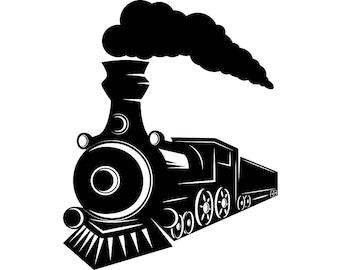 Steam Engine #7 Train Locomotive Vintage Railroad Railway Track Coal Transportation Logo .SVG .EPS .PNG Clipart Vector Cricut Cut Cutting