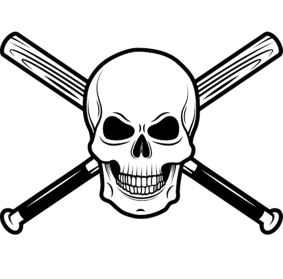 Baseball Logo 18 Skull Wood Stick Bat Crossed Ball Sports Etsy