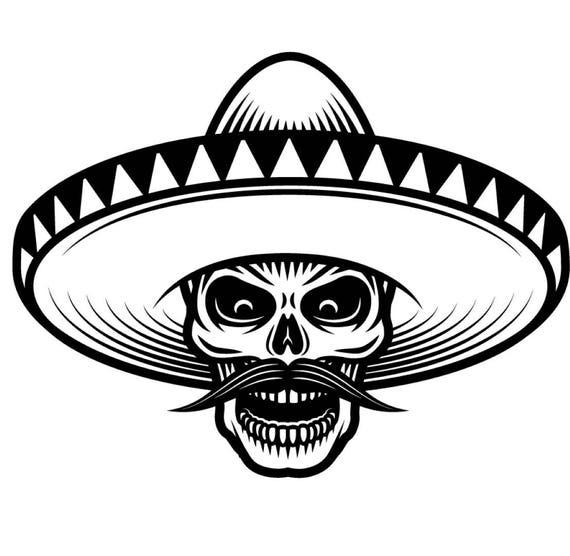 Mexican Bandit 1 Skull Sombrero Mustache Wild West Killer Tattoo Skeleton T Shirt Svg Eps Png Digital Vector Cricut Cut Cutting Download