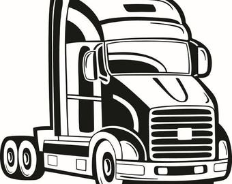 Truck Driver #9 Trucker Big Rigg 18 Wheeler Semi Tractor Trailer Cab Flat Bed Company Trucking Logo .SVG .EPS .PNG Vector Cricut Cut Cutting