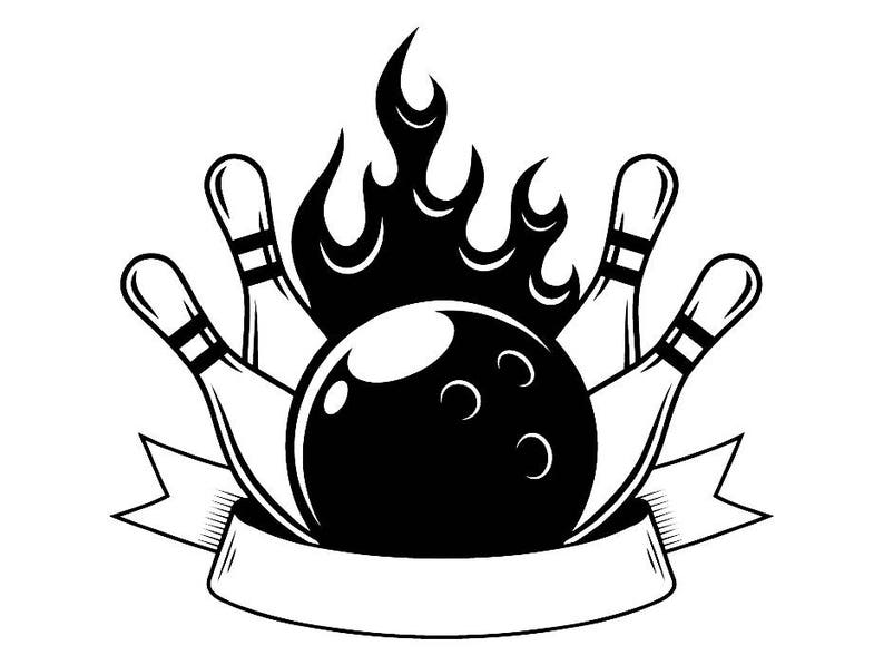 Bowling Logo 15 Ball Pin Sports Bowl Game Bowler Alley Strike