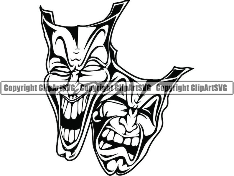 Happy Sad Masks 9 Laugh Now Cry Later Clown Face Gangster Biker Thug Tattoo Illustration Theatersvg Png Clipart Vector Cricut Cut Cutting