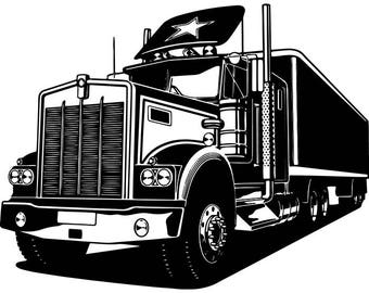 Truck Driver #17 Trucker Big Rigg 18 Wheeler Semi Tractor Trailer Cab Flat Bed Company Trucking Logo.SVG .EPS .PNG Vector Cricut Cut Cutting