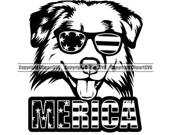 Australian Shepherd Dog USA Flag Sunglasses Merica America American Breed Puppy Pup Pet  Design Element Logo SVG PNG Clipart Vector Cut File